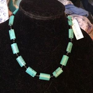 Green stone with black design necklace